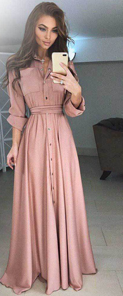Plus Size 5XL Fashion Boho Casual Women Long Sleeve Button up Dress