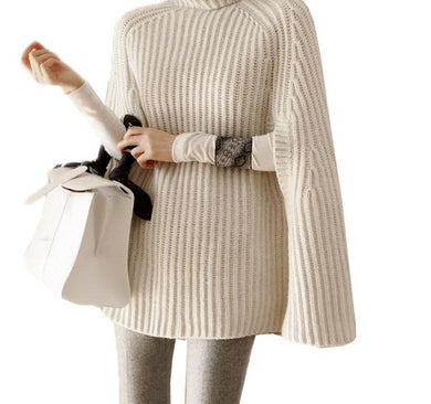 Autumn Winter Casual Knitted Cloak Turtleneck Pullover Sweater