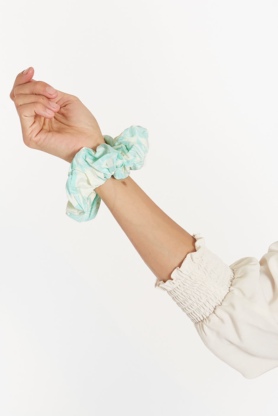 Babe Scrunchie for women by Paneros Clothing. Aqua Mahalo print from 100% rayon leftover fabric