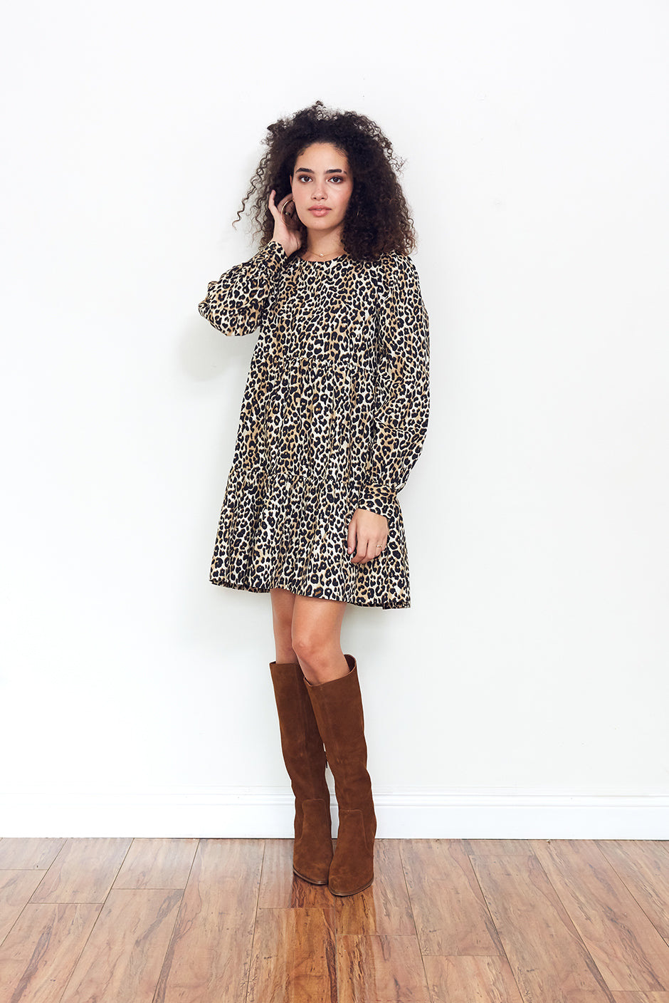 Olivia Mini Dress in Cheetah Queen print for women by Paneros Clothing. From sustainable deadstock cotton poplin. Front View.