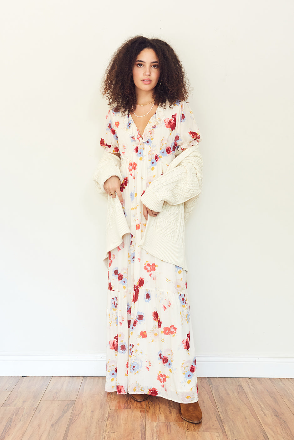 Clarence Maxi Dress in Prairie Bloom print front view by Paneros Clothing