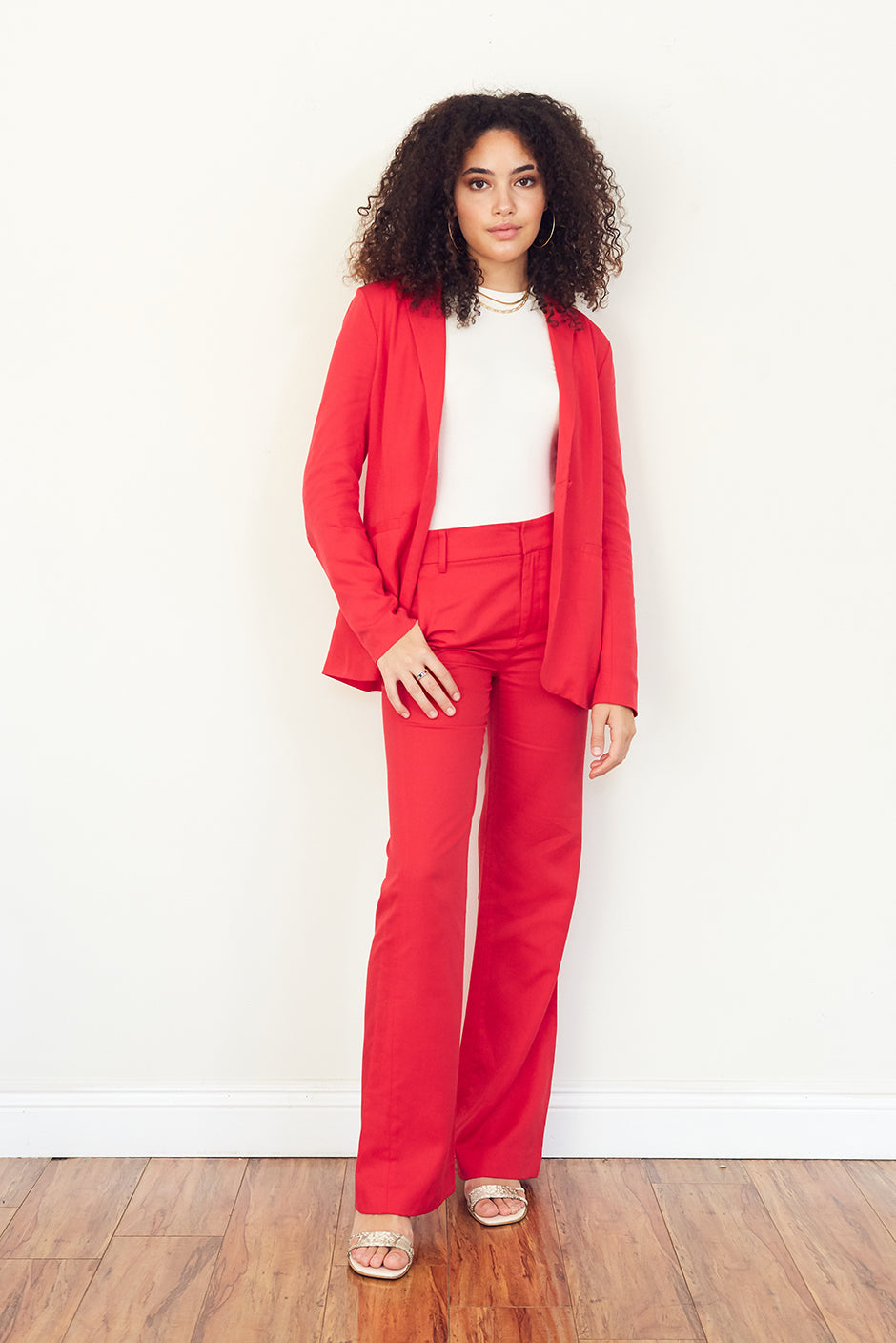 Day to Night Trouser in Cherry Punch front view by Paneros Clothing