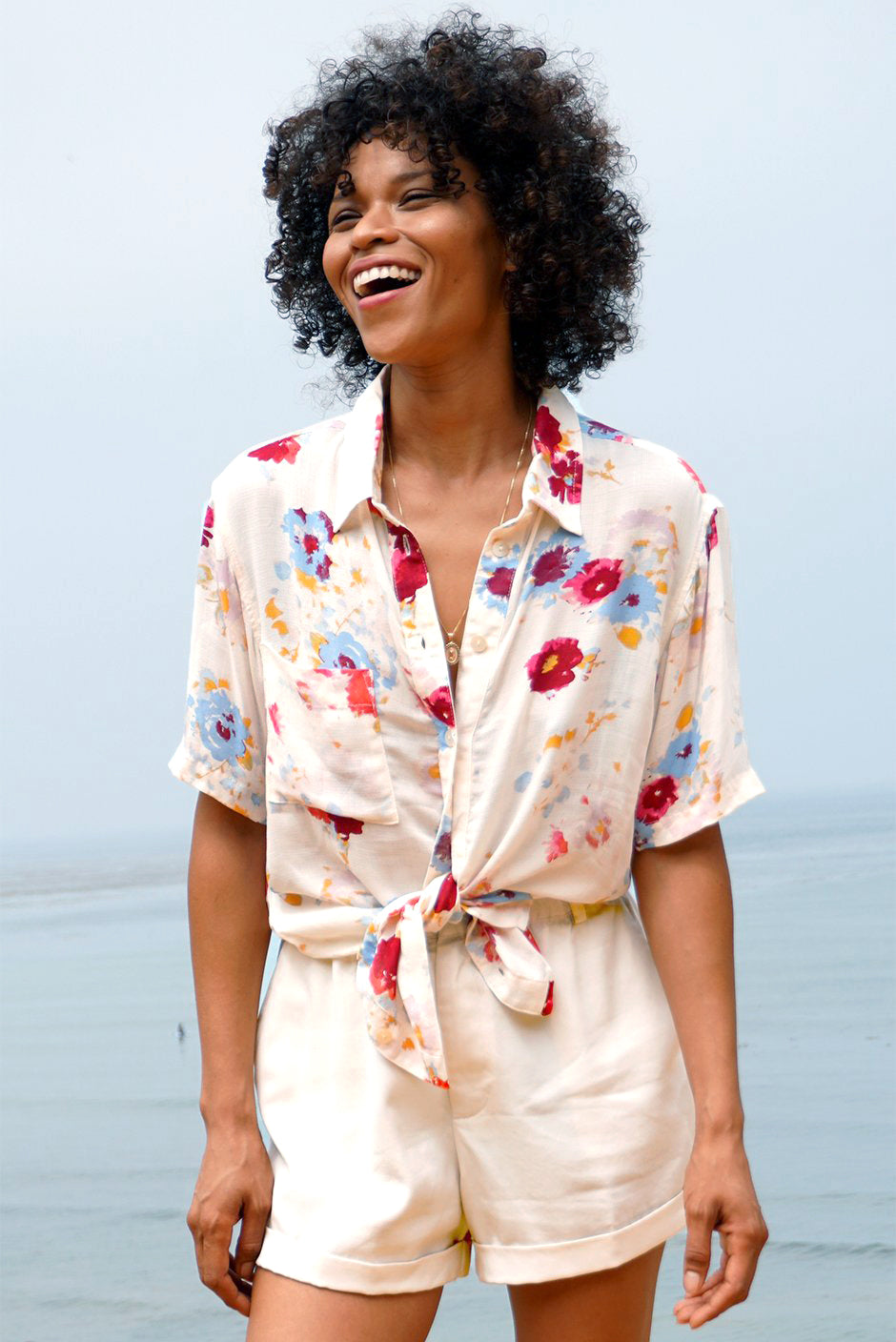 Kaia Shirt in Prairie Bloom for women by Paneros Clothing. Front view. Made from 100% deadstock fabric.