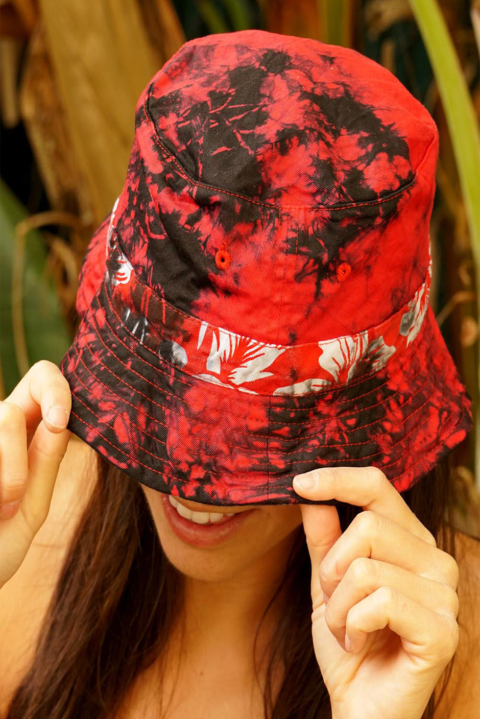 One of a kind handmade embellished Tie Dye Kai aloha shirt by Paneros Clothing. Luna Bucket Hat // Lava Tie Dye, Size O/S. View 1