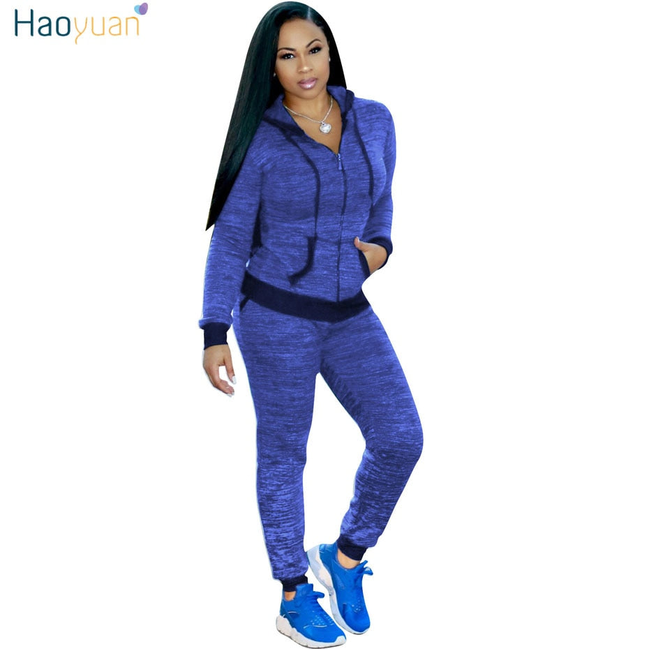 10646c12d11 HAOYUAN Two Pieces Set Women Autumn Casual Long Sleeve Zip Hooded Jacket  Tops+Skinny Pants