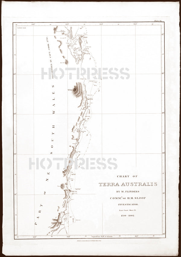 1814 Chart of the East Coast of Terra Australis, Sheet 2