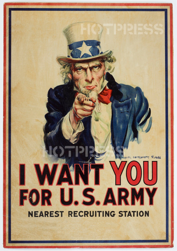 "1917 USA Recruitment Poster - Uncle Sam ""I Want You"""