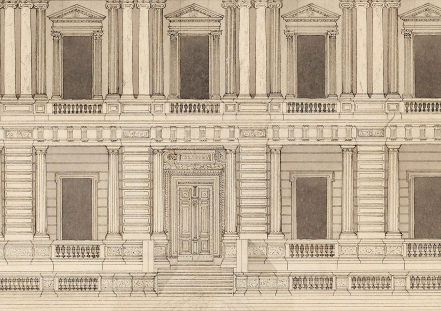 1859c Architectural Drawing of Treasury Building