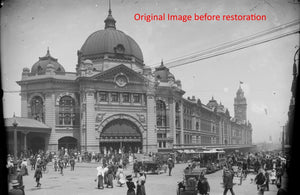 The original 1910 image of Flinders Street Station before we restored it.