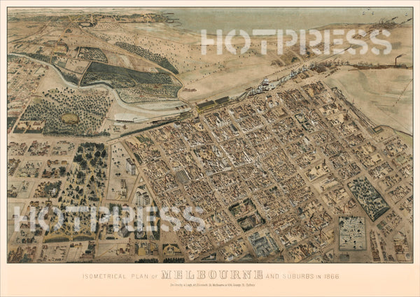 1866 Isometric View of Melbourne