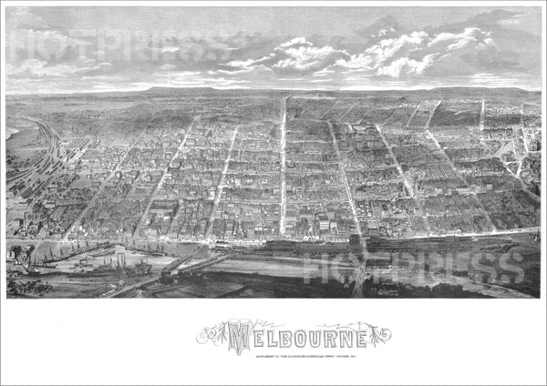 1871 Melbourne Bird's Eye View - Panoramic Print