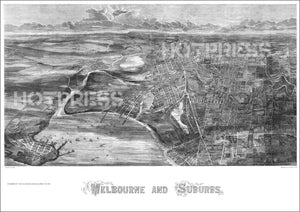 1873 Melbourne and Suburbs - Bird's-Eye View