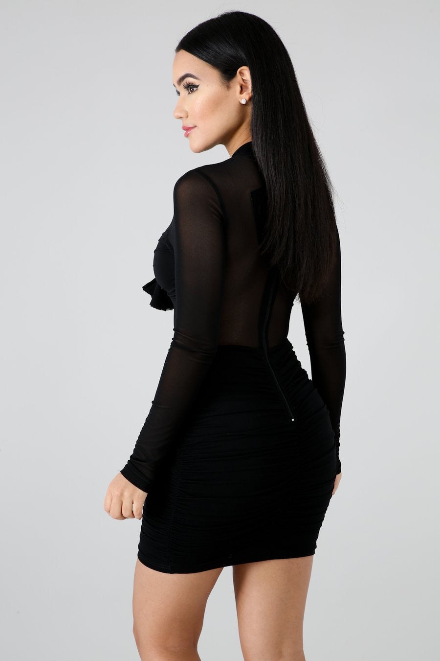 Natalie Mesh Long Sleeve Dress