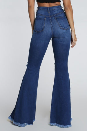 High Waisted Ripped Bell Bottom Jeans