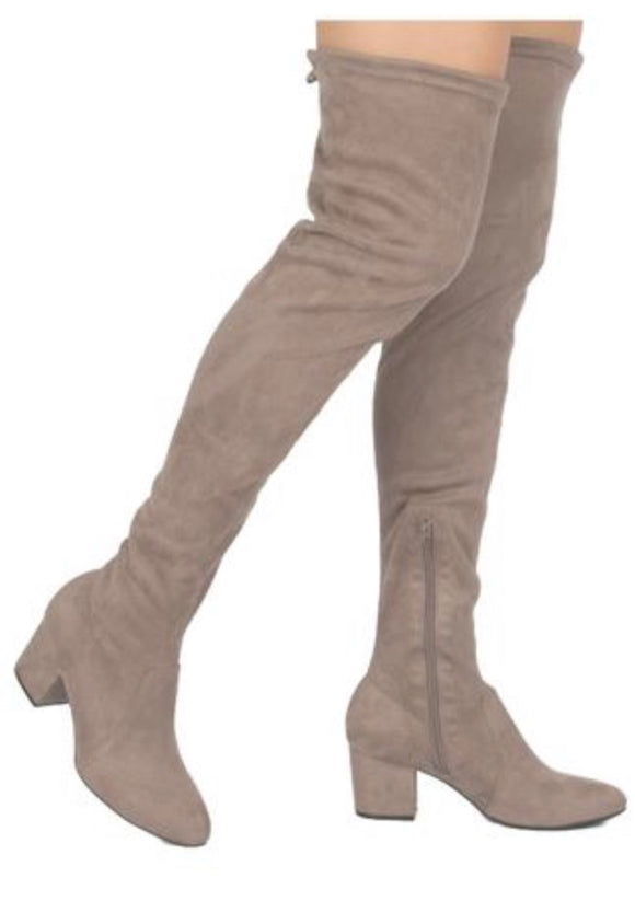 Taupe It Off Thigh High Boots