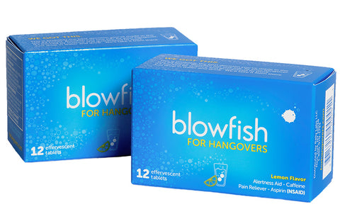 Two boxes of Blowfish tablets.
