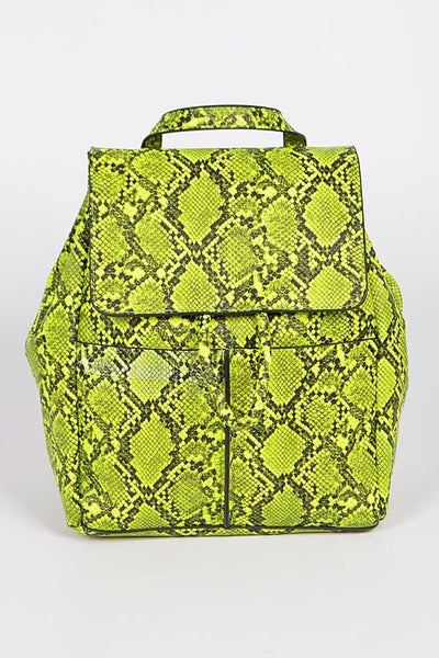 NOVA Neon Green Snake Print Backpack
