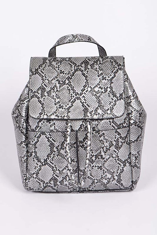 NOVA Silver Snake Print Backpack