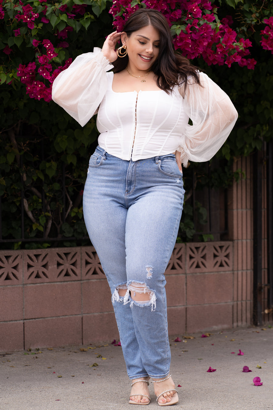 VICTORIA White Cold Shoulder Corset Top