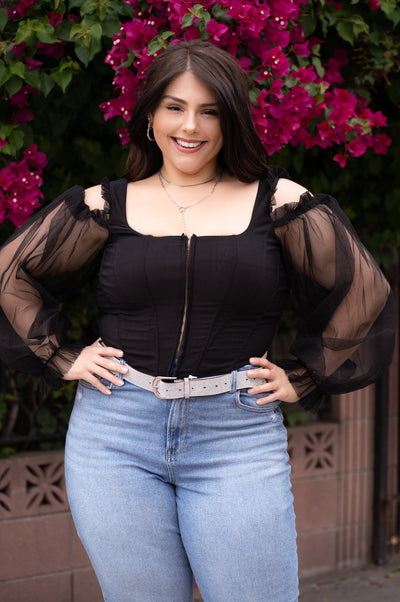 VICTORIA Black Cold Shoulder Corset Top