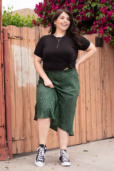 WILD CARD Green Satin Leopard Skirt