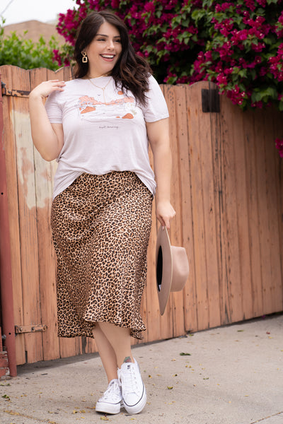 WILD CARD Tan Satin Leopard Skirt