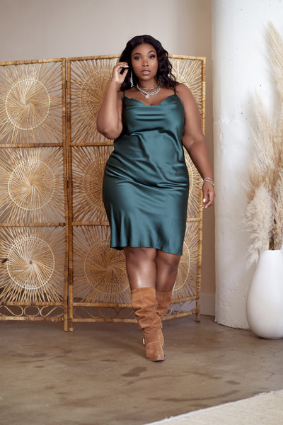 CARLY Emerald Satin Dress