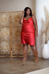 CARLY Red Satin Dress