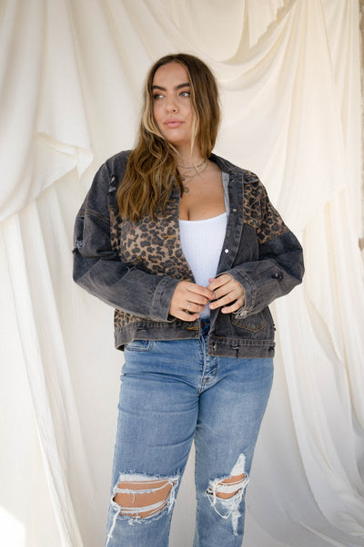 OFF DUTY Black Denim Jacket with Leopard panels