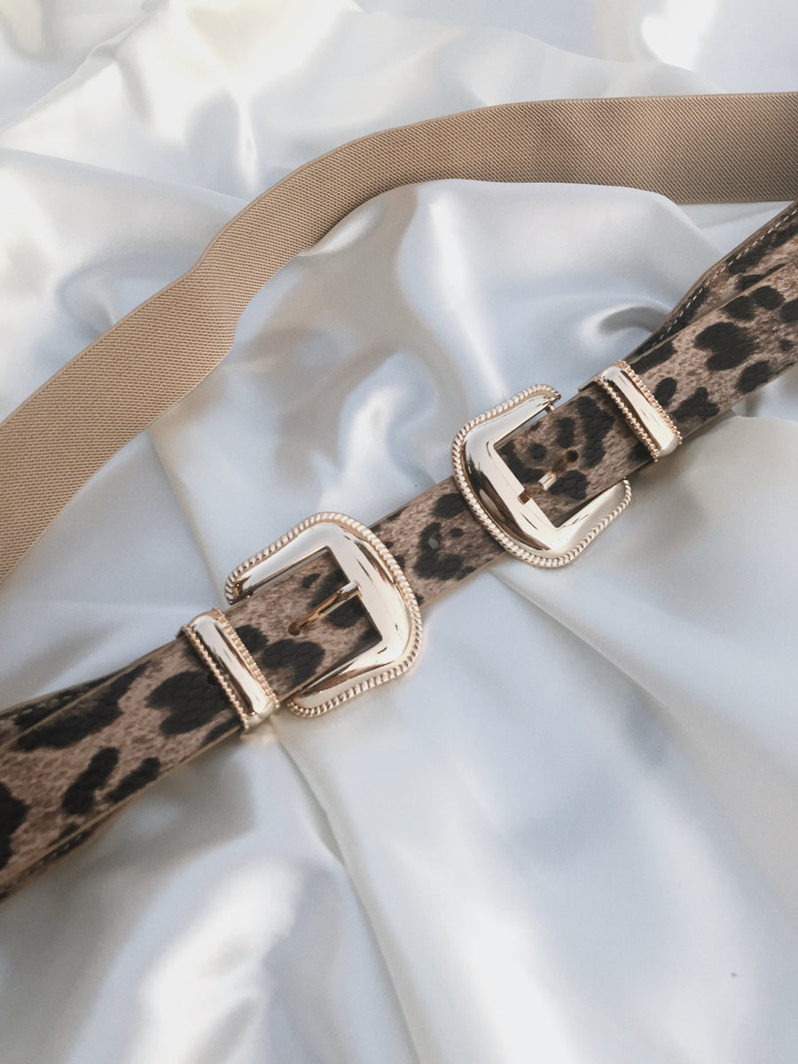CELINE Tan Leopard Double Gold Buckle Belt