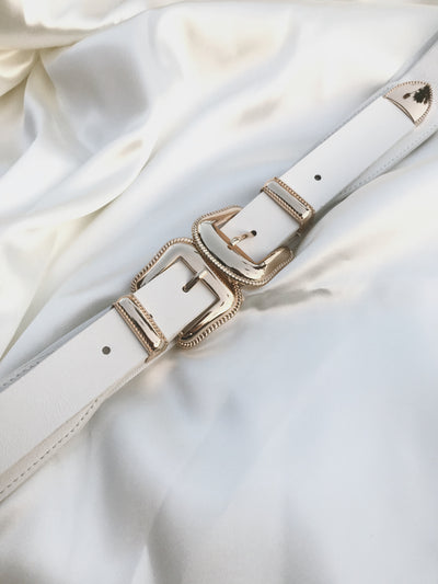 CELINE White Double Gold Buckle Belt