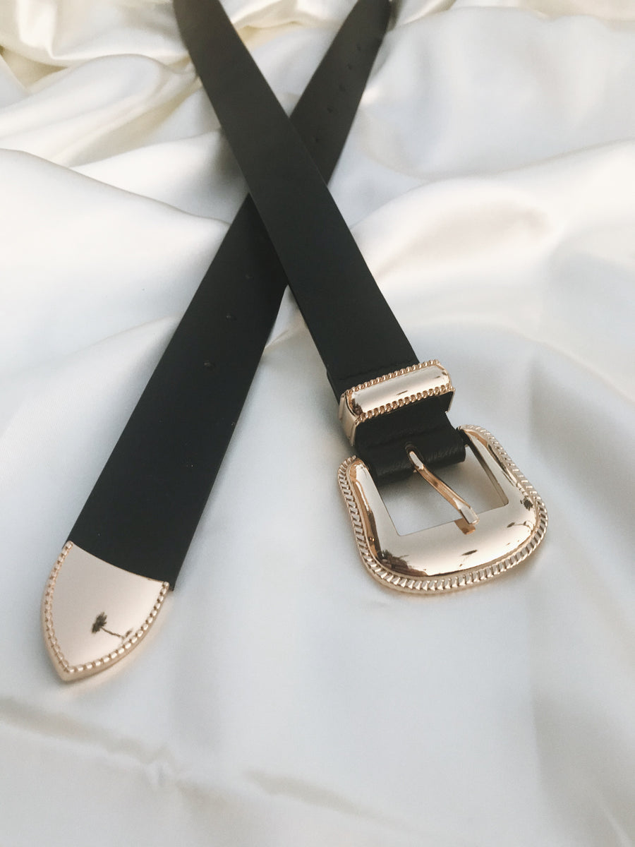 DESI Gold Buckle Black Belt