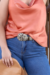 SYDNEY Faux Leather Tan Snake Print Belt