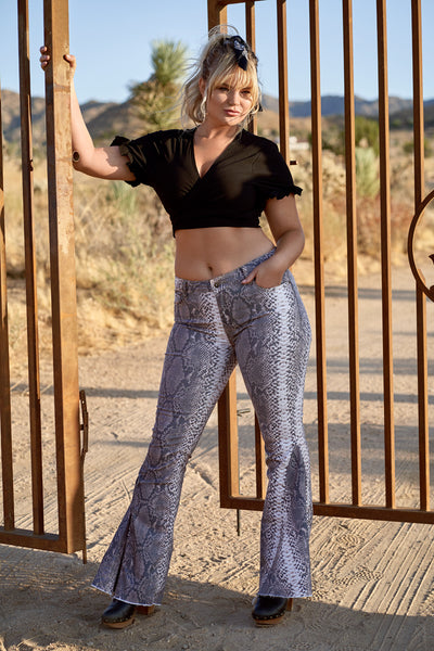 WILD WEST Snake Print Flare Pant