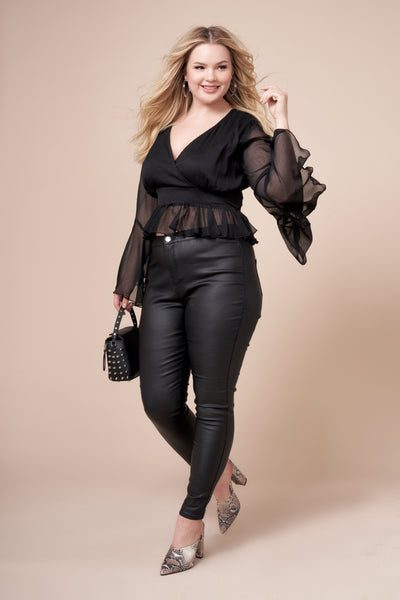 PRESLEY Sheer Bell Sleeve Top