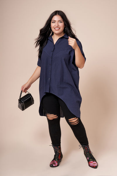 CASEY Blue Long Button Up Shirt