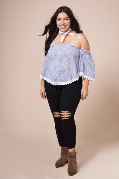 JULIET Blue Checkered Top