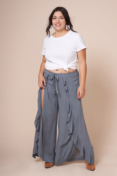 FRANKIE Blue Gray Front Slit Ruffle Pant