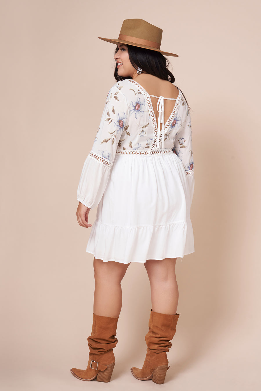 AUBREE White Floral Print Dress