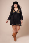 PAISLEY Black Long Sleeve Dress