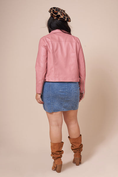 RYDER Pink Faux Leather Moto Jacket
