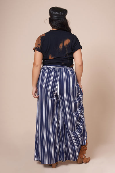 ALEX  Navy Front Slit Pant