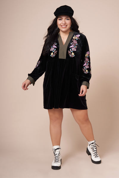 ZIGGY Black Velvet Embroidered Dress