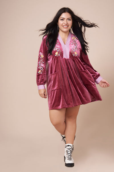 ZIGGY Pink Velvet Embroidered Dress