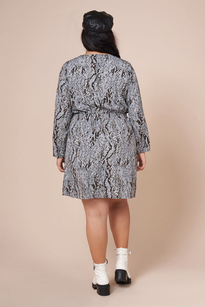 MILA Snake Print Faux Wrap Dress