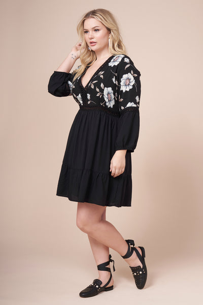 AUBREE Black Floral Print Dress