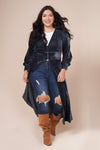 LONDON Charcoal Blue Velvet Maxi Jacket