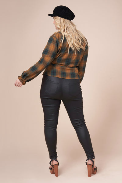 SHELBY Camel Plaid Top