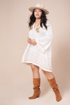 PAISLEY White Long Sleeve Dress