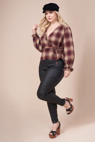 SHELBY Burgundy Plaid Top